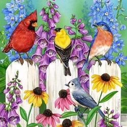 Пазл онлайн: Птички на заборчике