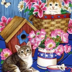 Пазл онлайн: Котята и цветы