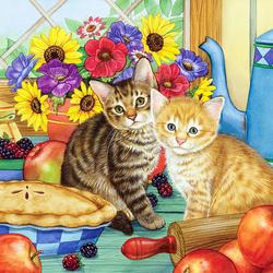 Пазл онлайн: Котята на кухне