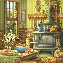 Пазл онлайн: Кухня с печью
