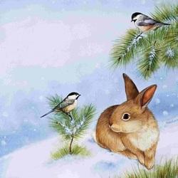 Пазл онлайн: Синички и кролик