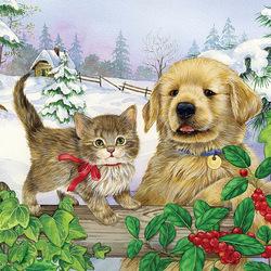 Пазл онлайн: Котёнок и щенок