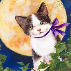 Пазл онлайн: Полнолунный кот