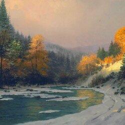 Пазл онлайн: Осенний снег