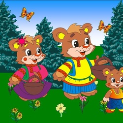 Пазл онлайн: Три медведя