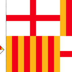Пазл онлайн: Герб и флаг Барселоны