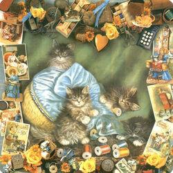 Пазл онлайн: Открытка с котятами