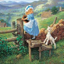 Пазл онлайн: Мэри и барашек