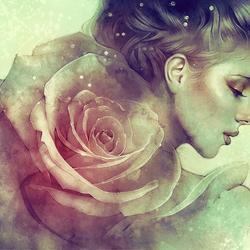 Пазл онлайн: Девушка-роза
