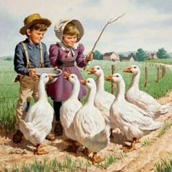 Пазл онлайн: Кормление гусей