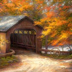 Пазл онлайн: Осенний мост
