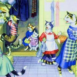 Пазл онлайн: Кошки так похожи на людей