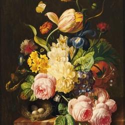 Пазл онлайн: Натюрморт с тюльпаном и гнездом