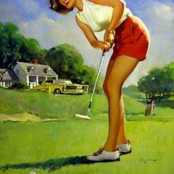 Пазл онлайн: Играющая в гольф