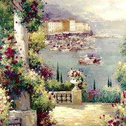 Пазл онлайн: Терраса полная цветов