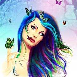 Пазл онлайн: Девушка-бабочка