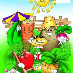 Пазл онлайн: Овощи под солнышком