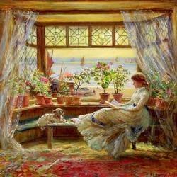 Пазл онлайн: Чтение у окна