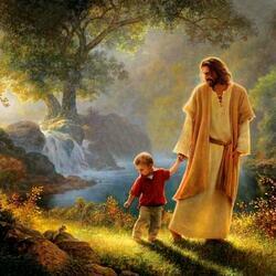 Пазл онлайн: Иисус, мальчик и белочка