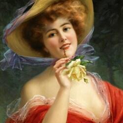 Пазл онлайн: Девушка с желтой розой
