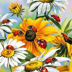 Пазл онлайн: Божьи коровки и цветы
