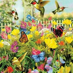Пазл онлайн: Над цветочным полем