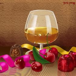 Пазл онлайн: Конфеты, вишни и коньяк