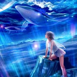 Пазл онлайн: Летающие киты