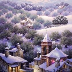 Пазл онлайн: Снежный пейзаж