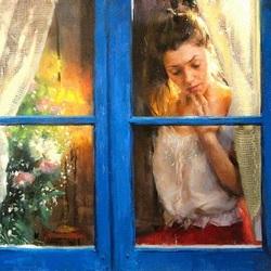 Пазл онлайн: Женщина в окне