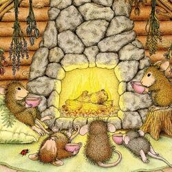 Пазл онлайн: Мышки у камина