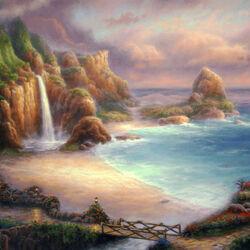 Пазл онлайн: Водопад у берега