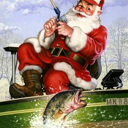 Пазл онлайн: Санта на рыбалке