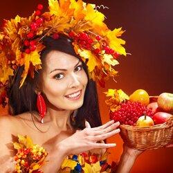 Пазл онлайн: Девушка - осень