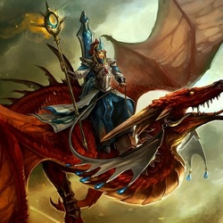 Пазл онлайн: Верхом на драконе