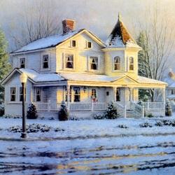 Пазл онлайн: Зимнее утро