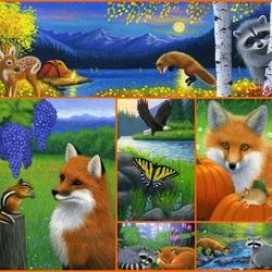 Пазл онлайн: Любопытный лис и енот