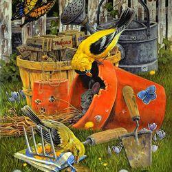 Пазл онлайн: Птицы в саду