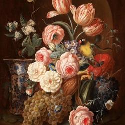 Пазл онлайн: Цветочный букет и китайская ваза