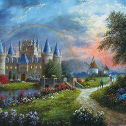 Пазл онлайн: Радуга над замком