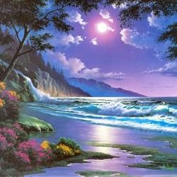 Пазл онлайн: Ночное побережье