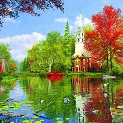 Пазл онлайн: Размышления у озера