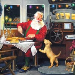 Пазл онлайн: Санта за обедом