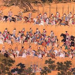 Пазл онлайн: Картина - свиток. Выезд Императора (2)