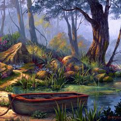Пазл онлайн: Лесное озеро