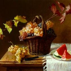 Пазл онлайн: Корзина с виноградом