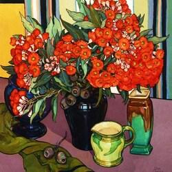 Пазл онлайн: Натюрморт с красными цветами