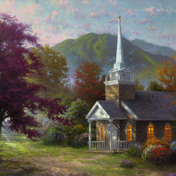 Пазл онлайн: Отдалённая церковь