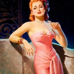 Пазл онлайн: Девушка в розовом платье