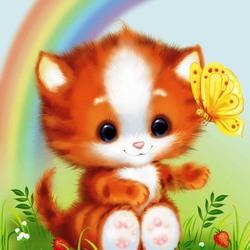 Пазл онлайн: Котенок под радугой